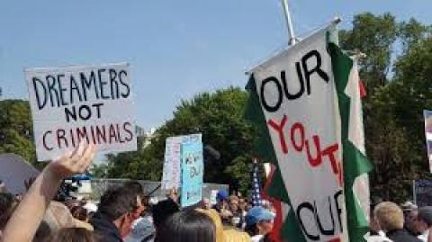 Dreamers not criminals sign at White House September 5, 2017