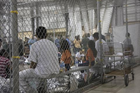 Detained immigrants at the Central Processing Center in McAllen, Texas, Sunday, June 17, 2018.