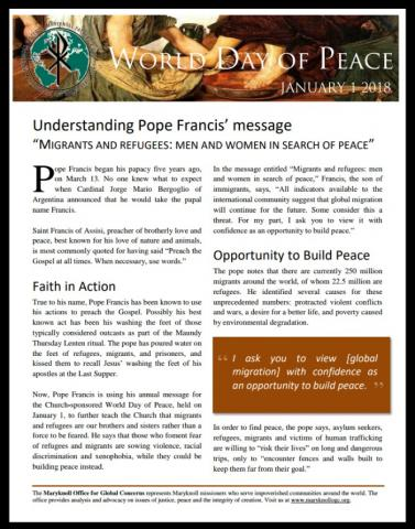 World Day of Peace 2018 flyer