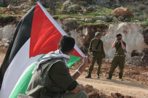 Boy with Palestinian flag