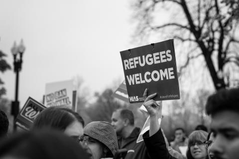 Refugee Welcome sign at U.S. Supreme Court by Flickr Lorie Shaull