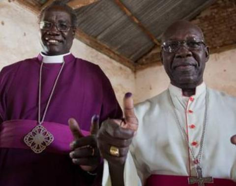 Archbishop Daniel Deng Bul of the Episcopal Church of Sudan (left) and Catholic Archbishop Paulino Lukudu Loro