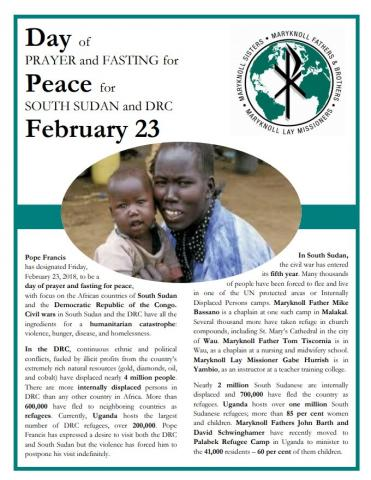 Day of Fasting and Prayer for Peace for South Sudan and DRC