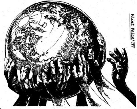 Globe with hands