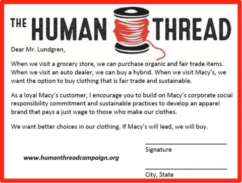 The Human Thread Campaign postcard