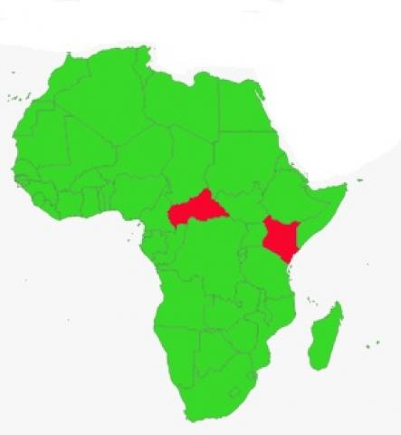 Central African Republic and Kenya in Africa map
