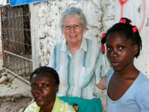 Maryknoll Sister Elizabeth Knoerl (center) and Haitian women