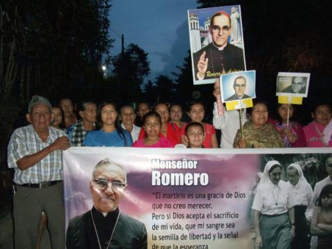 Romero vigil march Monte San Juan parishioners El Salvador 2108