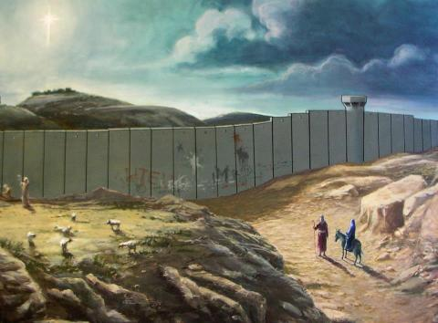 Banksy -- Holy Famiy and separation wall
