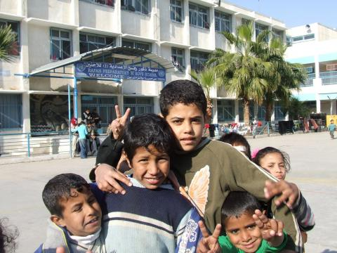Palestinian children at a UNRWA funded school