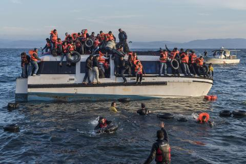 Syrians and Iraq refugees arrive at Skala Sykamias Lesvos Greece by Ggia licensed CC 4.0
