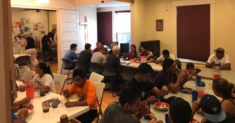 Sharing a meal with migrants in El Paso, Texas, July 2018