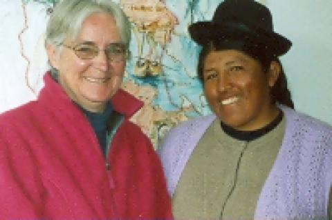 Maryknoll Sister Patricia Ryan and a member of an indigenous community in Peru