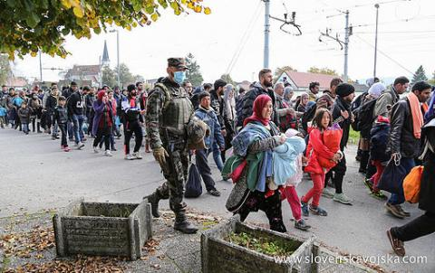 Syrian refugees pass through Slovenia on their way to Germany, October 23, 2015.