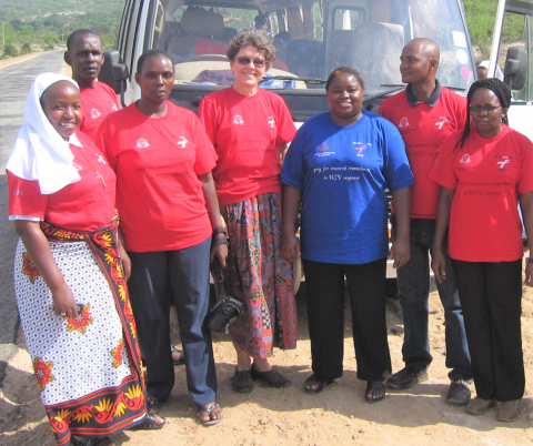 Maryknoll Lay Missioner Susan Nagele (fourth from left) on World AIDS Day in Kenya n 2010.