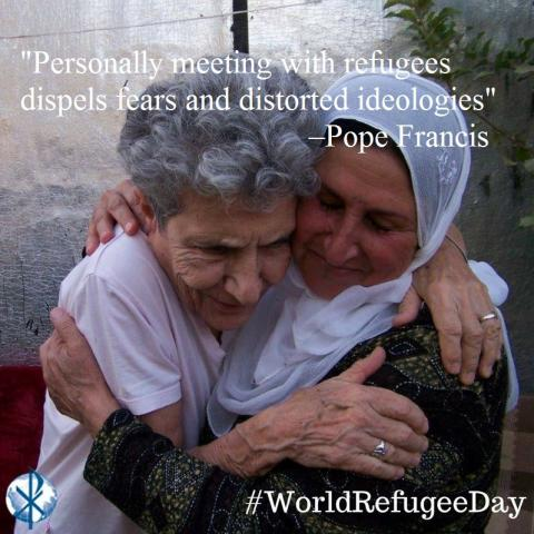 Maryknoll Sister Rosemarie Milazzo (left) and refugee in Iraq