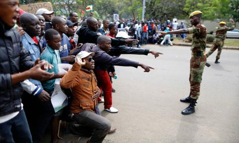 Protesters call for President Mugabe to step down, Harare, Zimbabwe, November 18, 2017