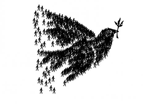 Dove of peace created by people