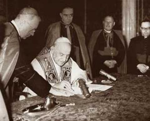 John XXIII signs Pacem in Terris April 1963