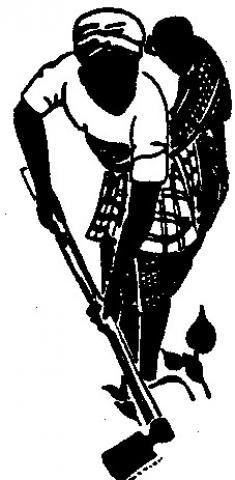 Woman using hoe clip art