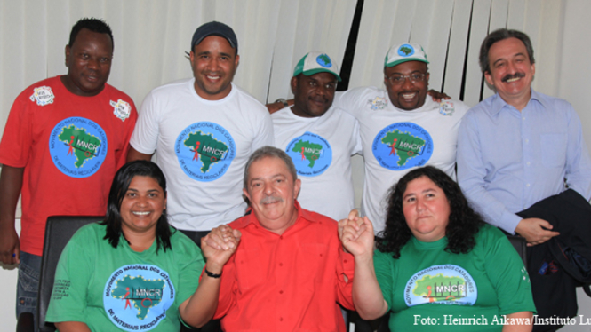 President Lula da Silva and recyclers in Brazil