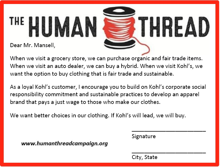 Human Thread Campaign postcard to Kohl's