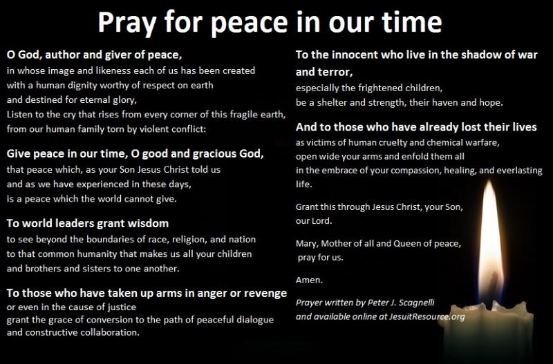 Pray for peace in our time